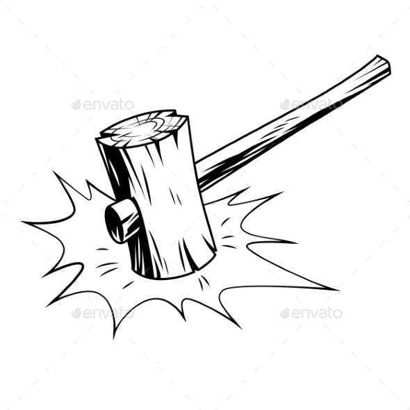 Hammer in Comic Style - Man-made Objects Objects