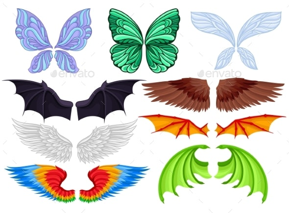 Flat Vector Set of Colorful Wings - Miscellaneous Vectors