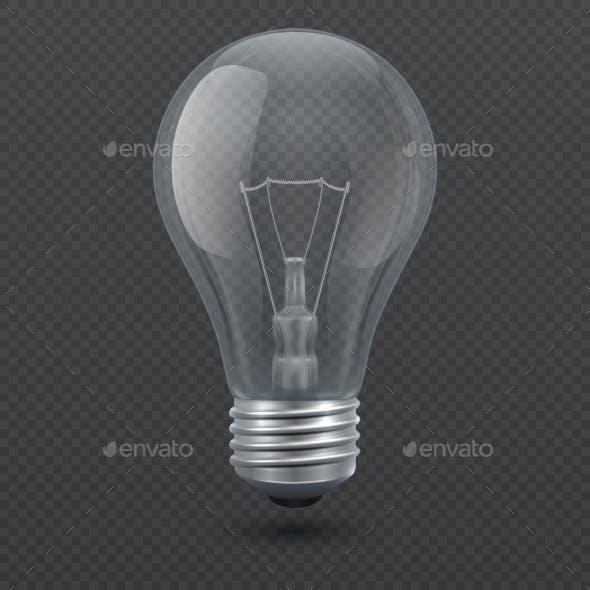 Realistic Light Bulb Vector Illustration