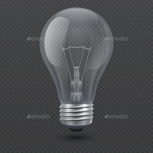 Realistic Light Bulb Vector Illustration - Man-made Objects Objects