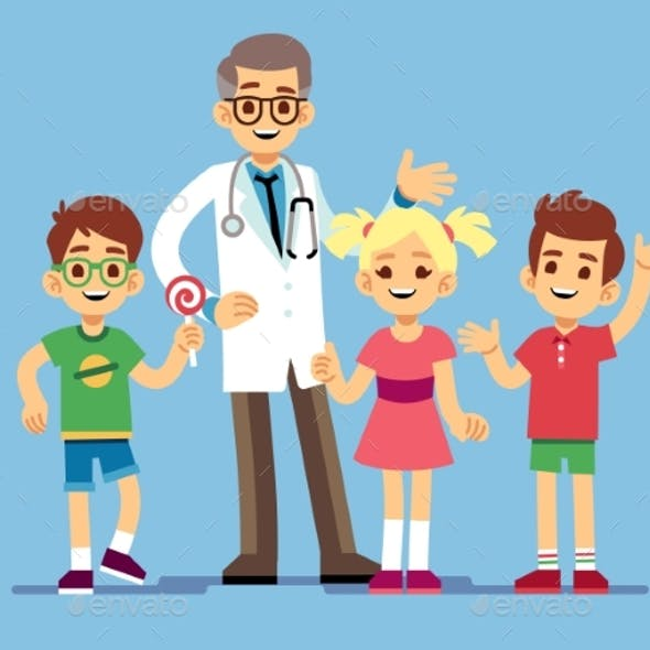Male Pediatrician Doctor and Kids