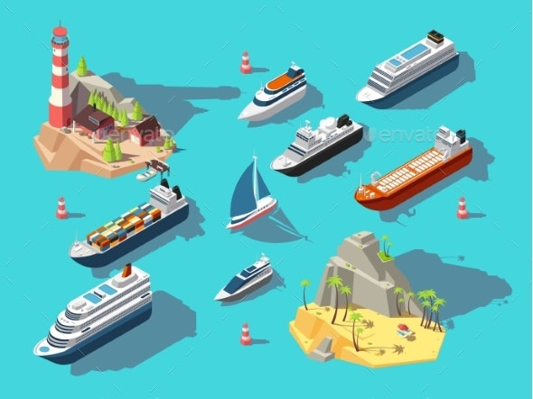 Isometric Ships - Miscellaneous Vectors