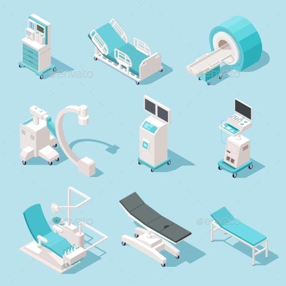 Isometric Medical Equipment Hospital Diagnostic