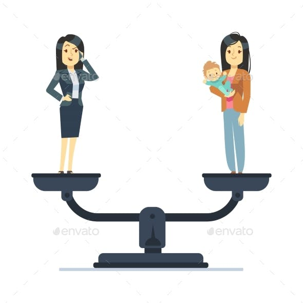 Businesswoman and Woman with Kid on Scales