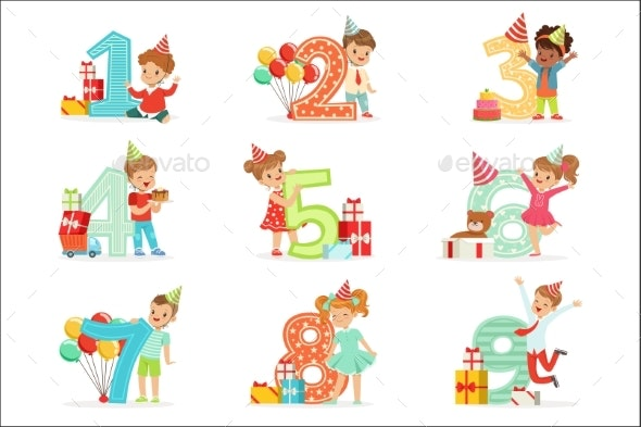 Children Birthday Celebration Set - People Characters