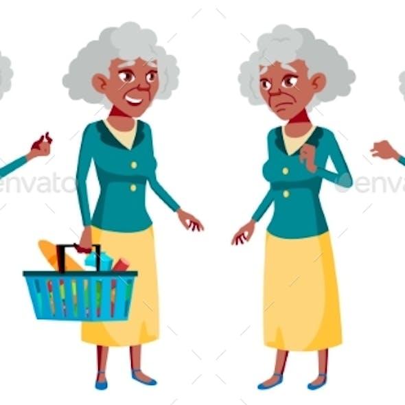 Old Woman Poses Set Vector. Elderly People. Black