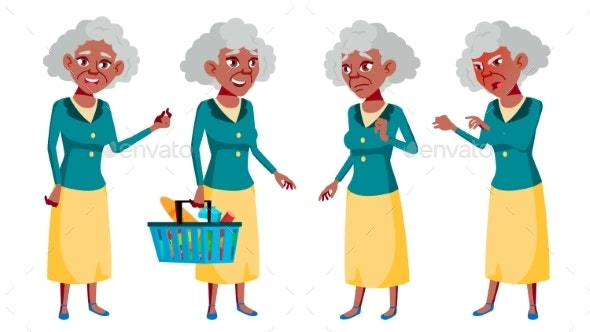 Old Woman Poses Set Vector. Elderly People. Black - People Characters