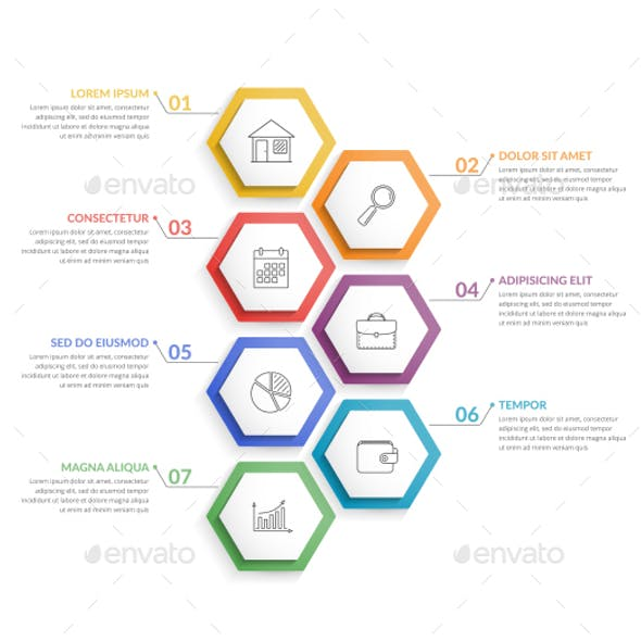 Infographic Template with 7 Hexagons
