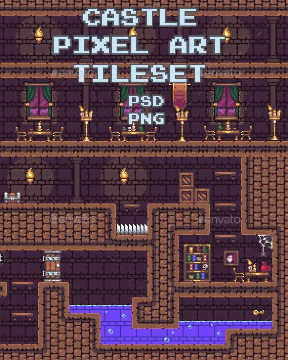 Castle Pixel Art Tileset - Tilesets Game Assets