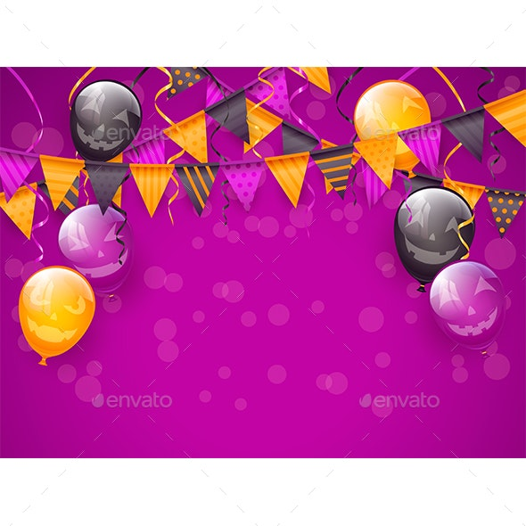 Purple Halloween Background with Decoration and Balloons - Halloween Seasons/Holidays