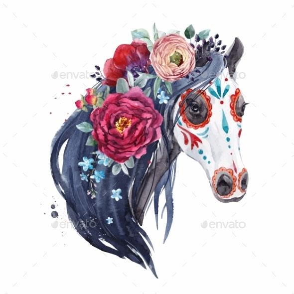 Watercolor Horse Vector Portrait - Miscellaneous Vectors