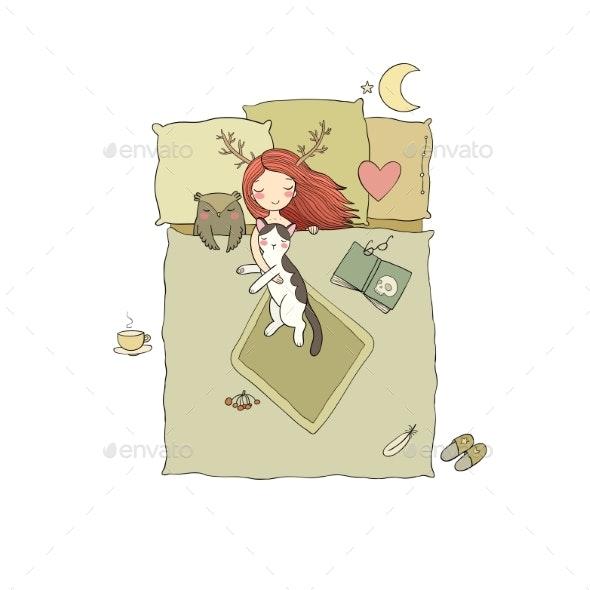 Sleeping Girl and Cat. Good Night. Sweet Dreams. - Animals Characters
