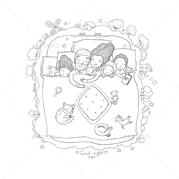The Family Sleeps in Bed - People Characters