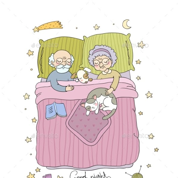 Grandfather and Grandmother Sleep in Bed