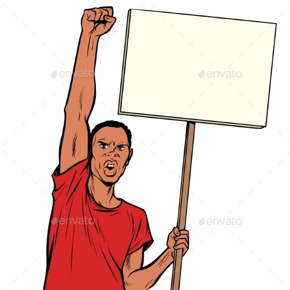 Man Protests with a Poster