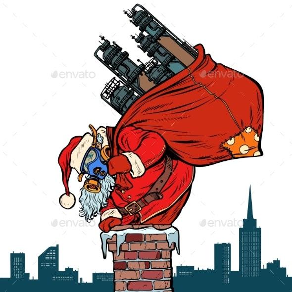 Ecology Factory Pipe, Dirty Air Face Mask. Santa - Seasons/Holidays Conceptual