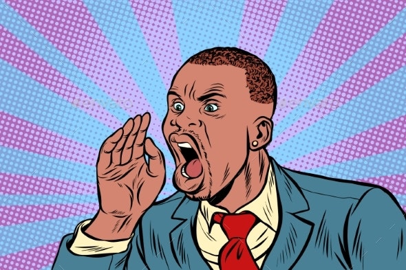 African Businessman Shouts - People Characters