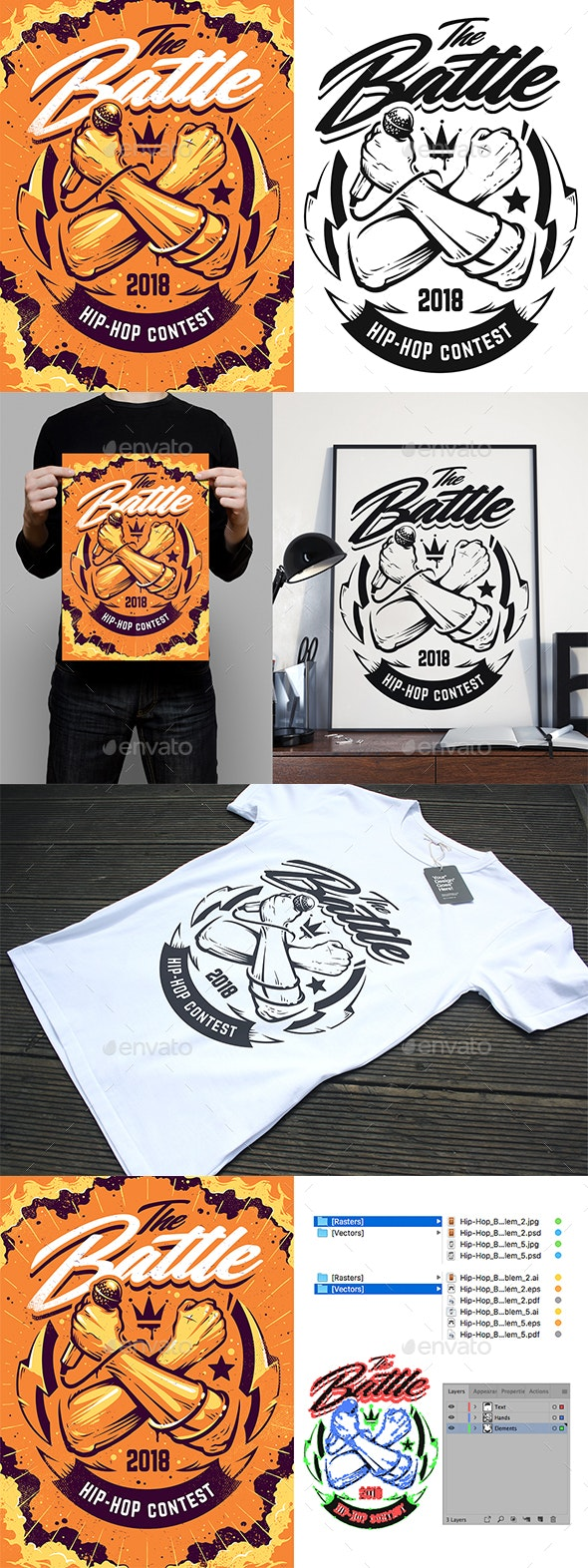 Hip-Hop Print Design   Vector Art - Clubs & Parties Events