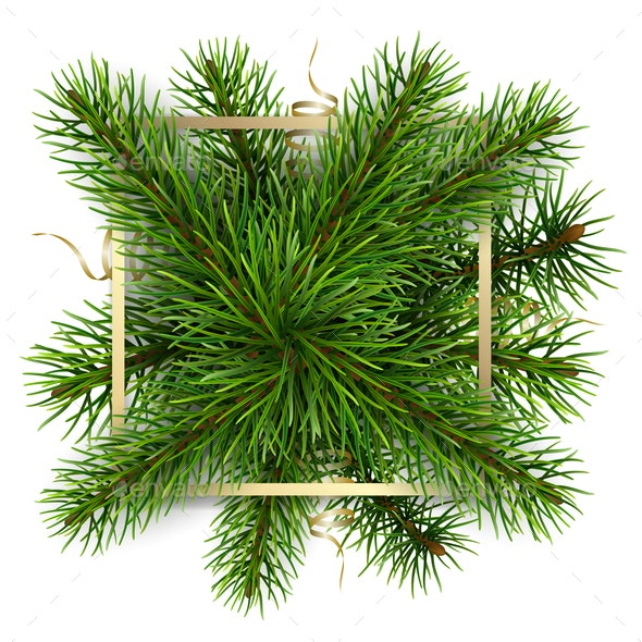 Golden Frame and Pine Branches - Christmas Seasons/Holidays