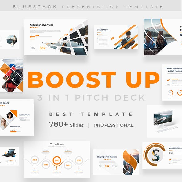 Boost Up Pitch Deck 3 in 1 Bundle Google Slide Template