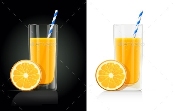 Fresh Orange Juice Glass with Pipe - Food Objects
