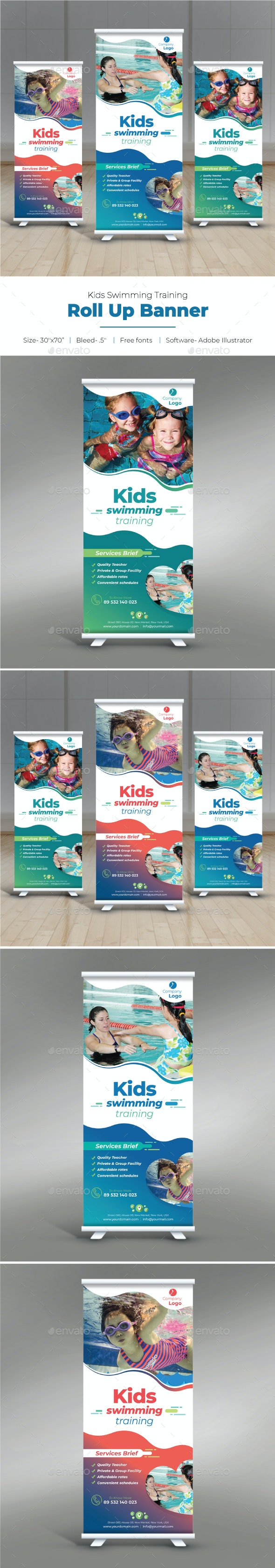 Kids Swimming Training Roll Up Banner - Signage Print Templates