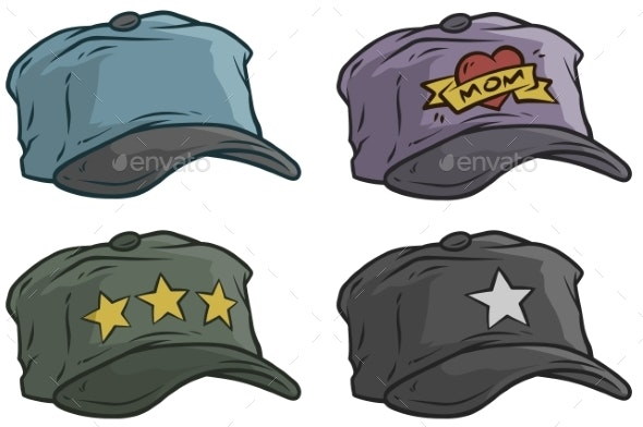 Cartoon Different Cap or Hat Vector Icon Set - Man-made Objects Objects