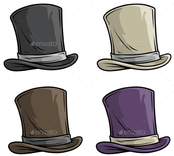 Cartoon Old Gentleman Top Hat Vector Icon Set - Man-made Objects Objects