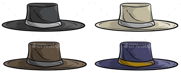 Cartoon Old Mexican Retro Hat Vector Icon Set - Man-made Objects Objects
