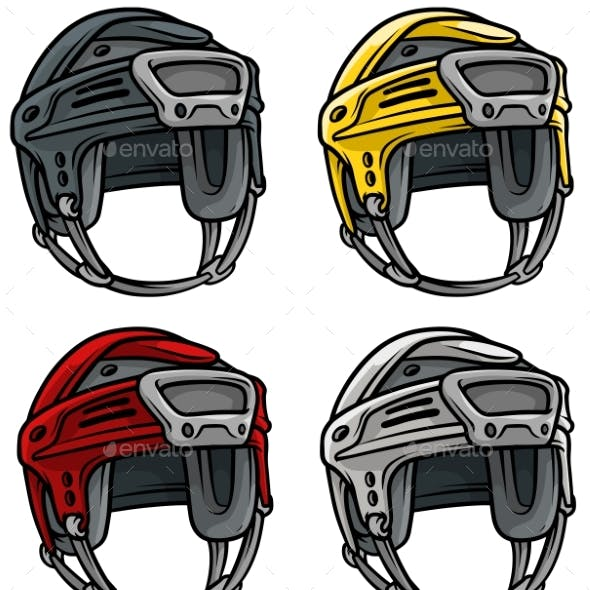 Cartoon Ice Hockey Sport Helmet Vector Icon Set
