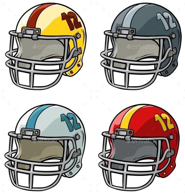 Cartoon American Football Helmet Vector Icon Set - Man-made Objects Objects