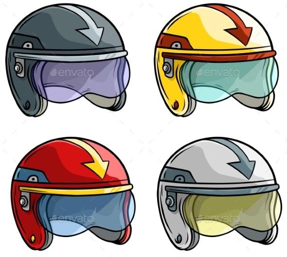 Cartoon Motorbike Racing Helmet Vector Icon Set - Man-made Objects Objects