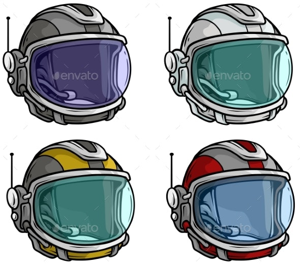 Cartoon Astronaut Space Helmet Vector Icon Set - Man-made Objects Objects