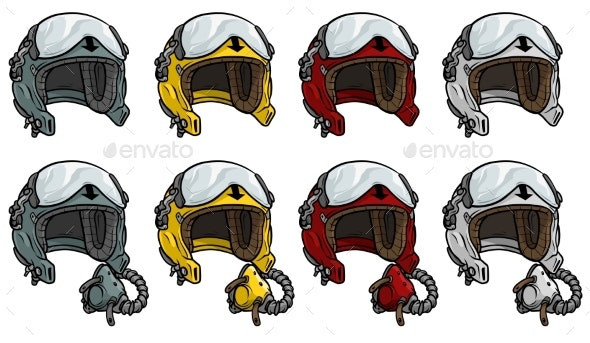 Cartoon Aviator Pilot Helmet Vector Icon Set - Man-made Objects Objects