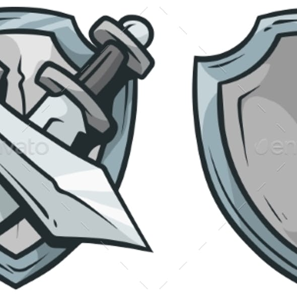 Cartoon Coat of Arms with Swords and Shield