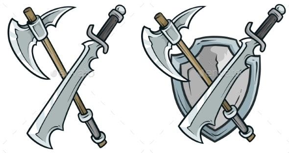 Cartoon Coat of Arms with Axe and Shield - Decorative Symbols Decorative