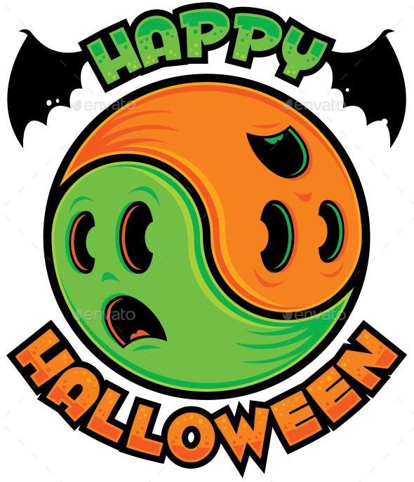 Happy Halloween Ghost Yin-Yang - Halloween Seasons/Holidays