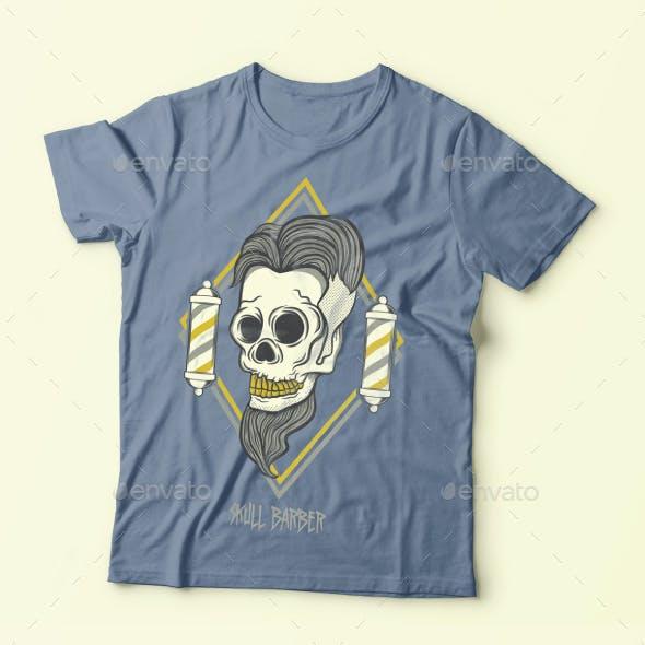 Skull Barber Tshirt Design