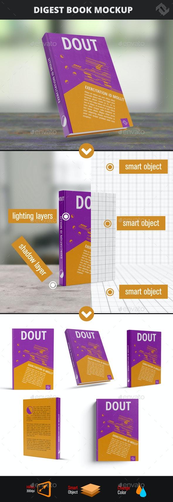 Digest Hard Cover Book Mockup - Books Print