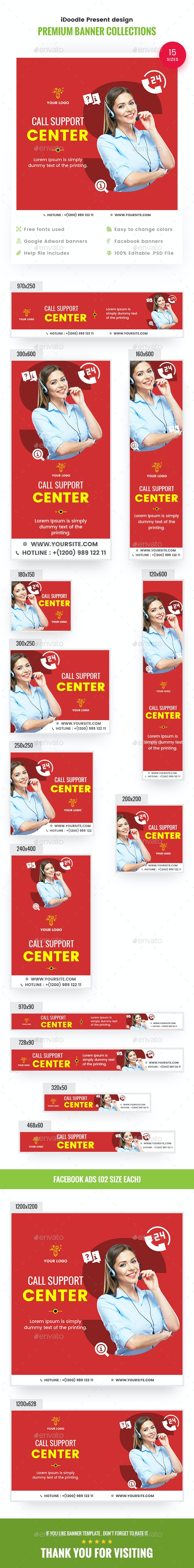 Customer Support Banners - Banners & Ads Web Elements