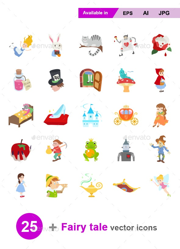 Fairy Tale Color Vector Icons - Miscellaneous Characters