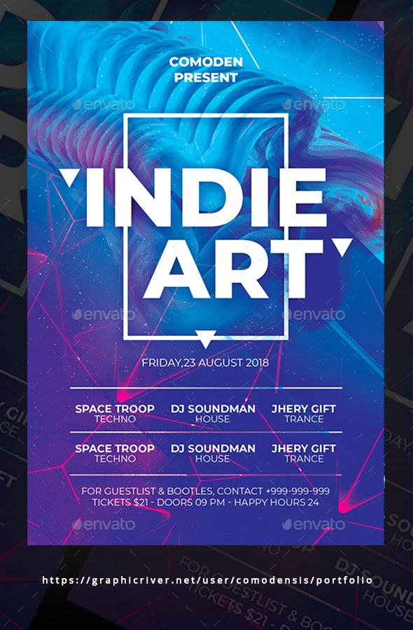 Indie Festival Flyer - Concerts Events