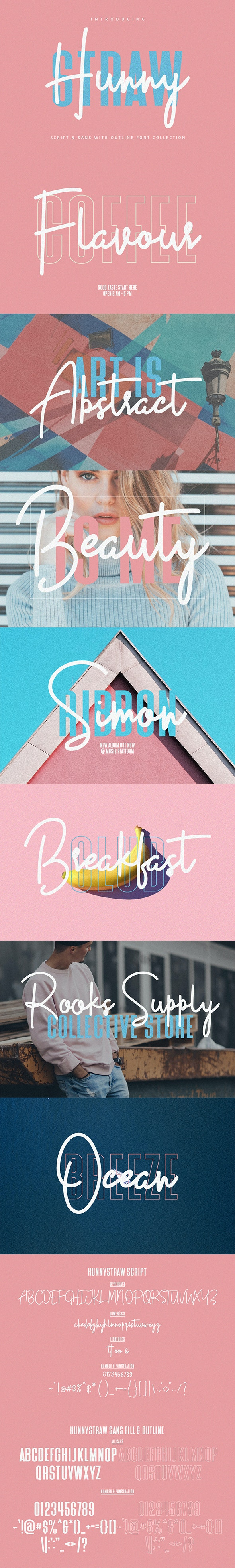 Hunny Straw Font Collection - Calligraphy Script