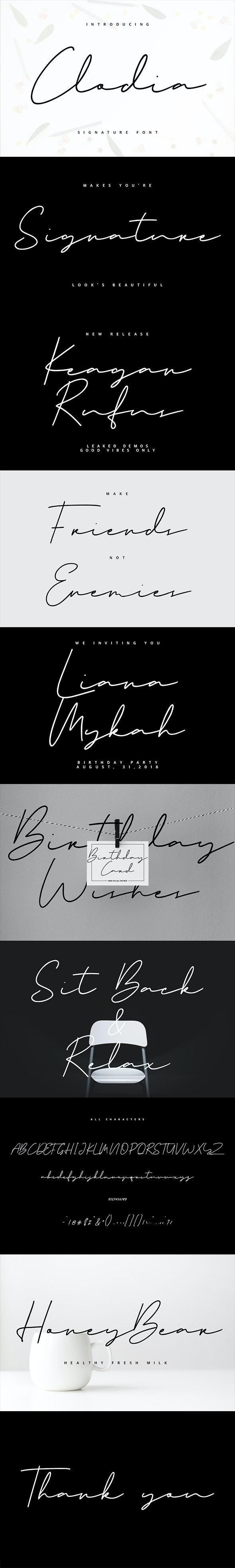 Clodia Signature Font - Calligraphy Script