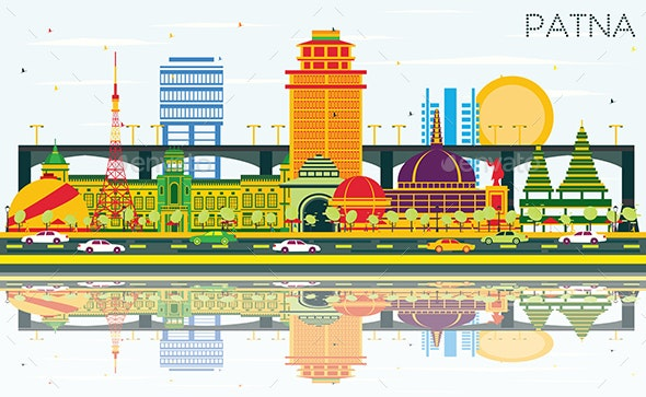 Patna India City Skyline with Color Buildings, Blue Sky and Reflections. - Buildings Objects