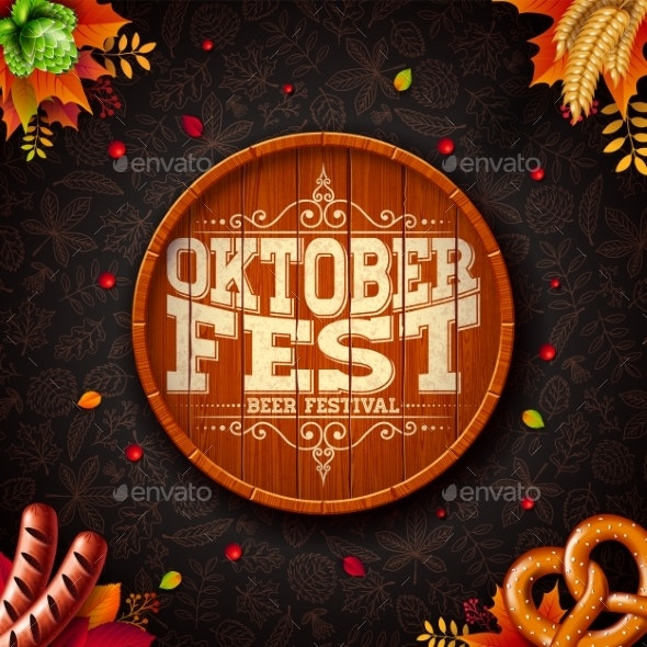 Oktoberfest Illustration with Typography on Beer - Miscellaneous Seasons/Holidays