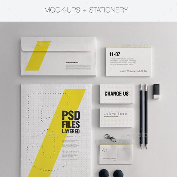 Realistic Stationery Mock-Up Set 1 - Corporate ID
