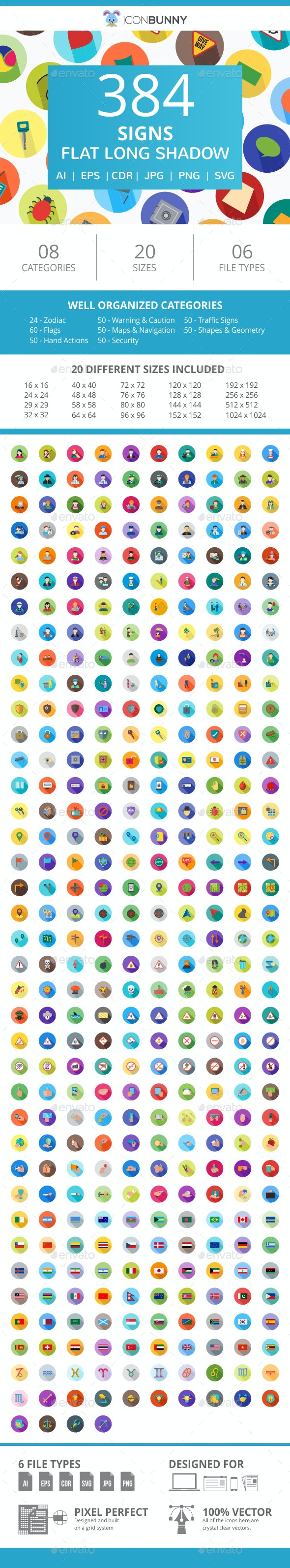 384 Sign Flat Long Shadow Icons - Icons