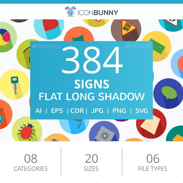 384 Sign Flat Long Shadow Icons