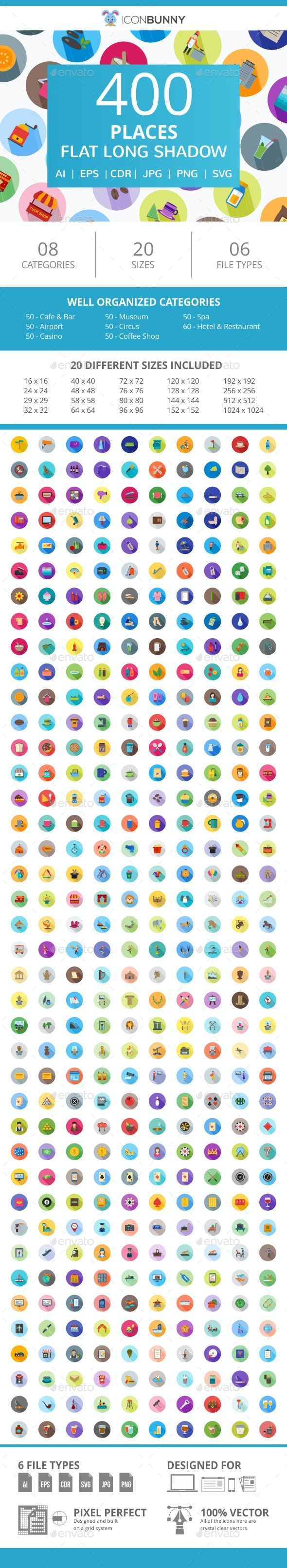 410 Places Flat Long Shadow Icons - Icons